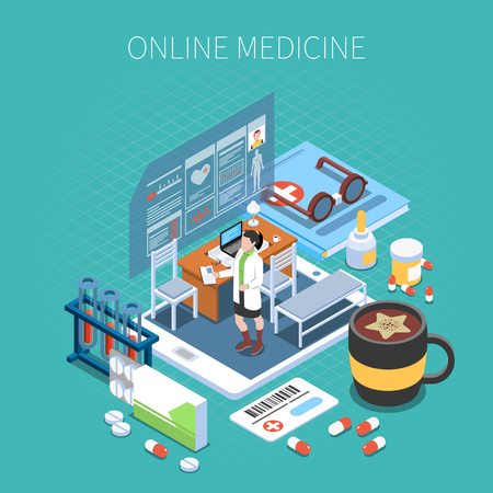 Online medicine isometric composition mobile device with office of doctor and medical objects turquoise background vector illustration