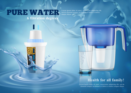 Household water filter purification pitcher with replacement cartridge and full glass realistic advertising composition blue splashes background