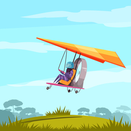 Skydiving extreme sport adventure flat abstract poster with glider pilot flight  before landing landscape background vector illustration Illustration