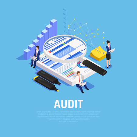 Accounting isometric composition with charts documentation and human characters during audit on blue background vector illustration