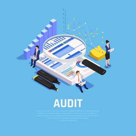 Composition isométrique comptable avec documentation des graphiques et caractères humains lors de l'audit sur illustration vectorielle fond bleu