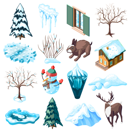 Winter landscaping set of isometric icons with animals bare trees and bushes frozen lake isolated vector illustration