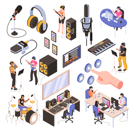 Audio studio isometric set with speakers in  radio room bloggers at work place and musicians recording song isolated vector illustration Foto de archivo - 113305668