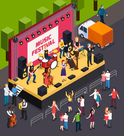 Musicians during performance on scene of music festival and dancing visitors isometric composition vector illustration Stock Illustratie