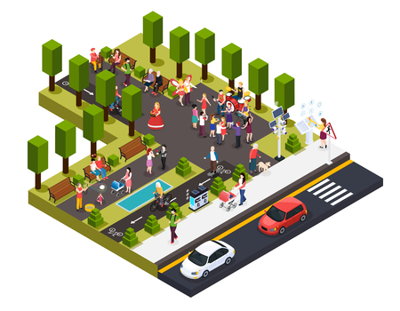 Street artists musicians master of pantomime painter florist and living statues in park isometric composition vector illustration