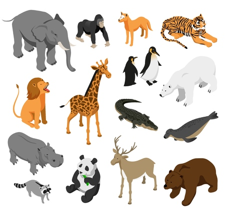 Herbivorous and predatory zoo animals set of isometric icons on white background isolated vector illustration Ilustração