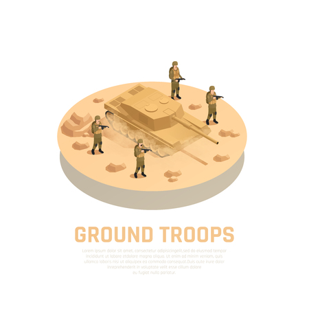 Military personnel machinery round isometric composition with armed ground troops servicemen and tank fighting vehicle vector illustration