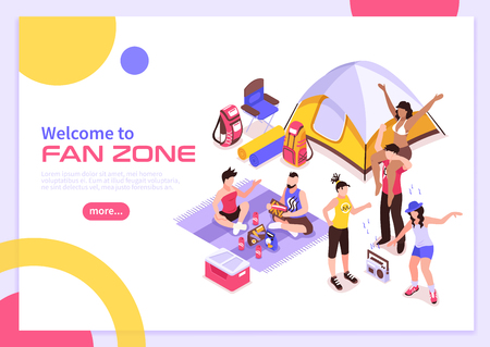 Open air music festival summer poster with invitation to visit fan zone isometric vector illustration