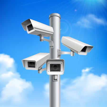 Set of security cameras on pillar realistic composition on blue sky background with clouds vector illustration