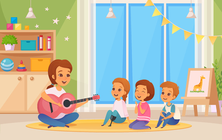 Colored and cartoon inclusion inclusive education composition with teacher who plays guitar vector illustration