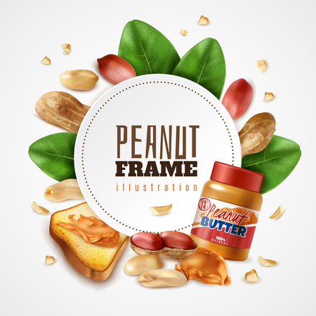 Realistic peanut butter frame composition with editable text inside round frame with leaves and arachis nuts vector illustration