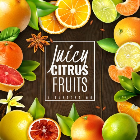 Various juicy citrus fruits and condiments on wooden background realistic vector illustration Vector Illustratie