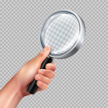 Classic magnifying glass round metal frame in human hand against transparent background closeup image realistic vector illustration