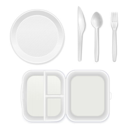 Disposable white plastic plate cutlery knife fork spoon lunchbox top view realistic tableware set isolated vector illustration