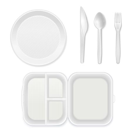 Piatto di plastica bianco monouso posate coltello forchetta cucchiaio lunchbox vista dall'alto set di stoviglie realistico isolato illustrazione vettoriale Vettoriali