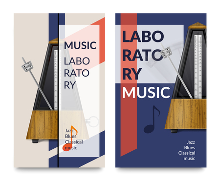 Two vertical realistic metronome music notes banner set with music laboratory headlines vector illustration Illustration