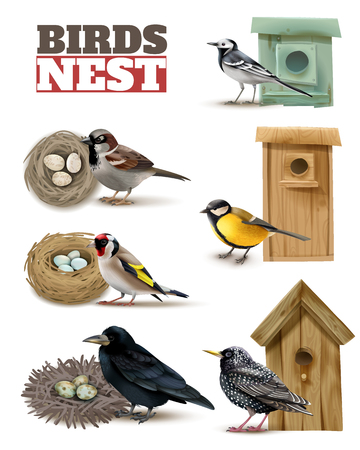 Birds nest set with editable text and realistic images of birds with wild nests and birdhouses vector illustration