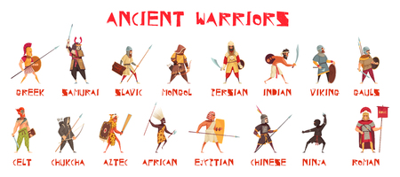 Ancient warriors set with national weapons flat isolated vector illustration