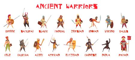Antichi guerrieri con armi nazionali piatto isolato illustrazione vettoriale