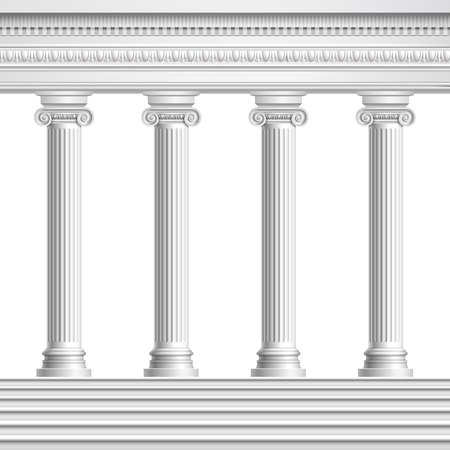 Architectural element colonnade from realistic antique columns with decorated ceiling and base with stairs vector illustration Stock Vector - 113776614