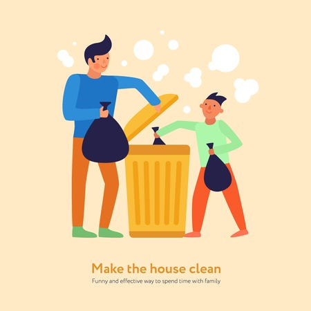 Garbage cleaning son and father with black packets near trash container on light background flat vector illustration Banque d'images - 113776615
