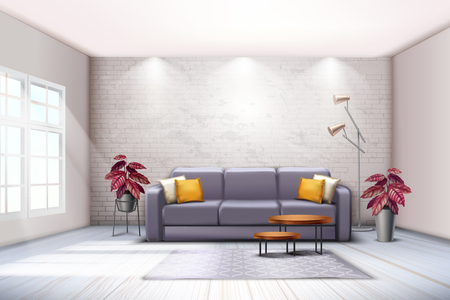 Spacious room interior with sofa floor lamps and decorative purplish tones colored leaves plants realistic vector illustration