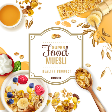 Realistic muesli superfood frame background with ornate text available for editing and top view of table vector illustration