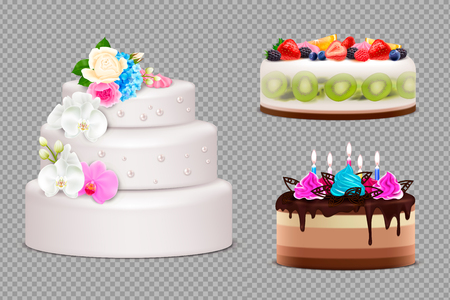 Transparent set of handmade festive cakes to order for birthday wedding or other holiday realistic vector illustration Illustration