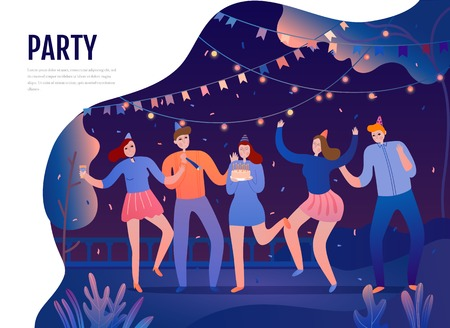 Group of young persons with festive attributes during dances on birth day party flat vector illustration