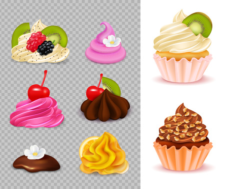 Cupcake constructor with various appetizing toppings set on transparent background and 2 ready desserts realistic vector illustration
