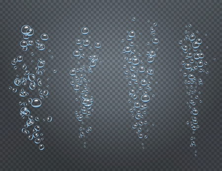 Realistic set of underwater fizzy streams consisting of ascending air bubbles isolated on transparent background vector illustration