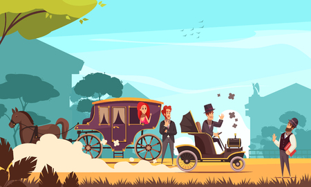 Human characters and old ground transportation horse carriage and ancient car on combustion engine cartoon vector illustration