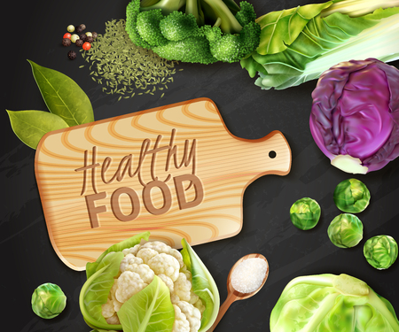 Realistic vegetables background with wooden cutting board and various kinds of cabbage vector illustration