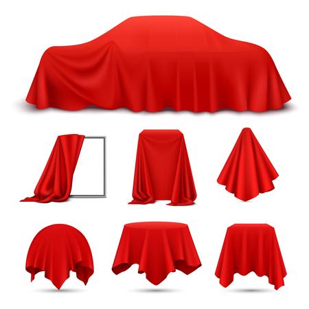 Objetos cubiertos de tela de seda roja conjunto realista con marco drapeado coche colgando servilleta mantel cortina vector Ilustración de vector