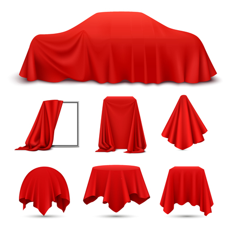 Red silk cloth covered objects realistic set with draped frame car hanging napkin tablecloth curtain vector illustration Vectores