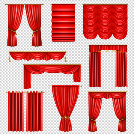 Set of realistic luxury red draped curtains on transparent background isolated vector illustration