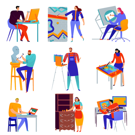 Set of flat icons creative professions graphic designer painter master of sculpture restorer isolated vector illustration Ilustrace