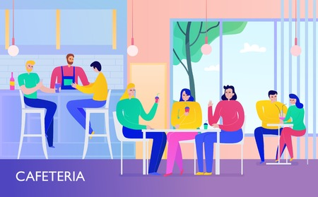 People having drinks in cafe flat vector illusration