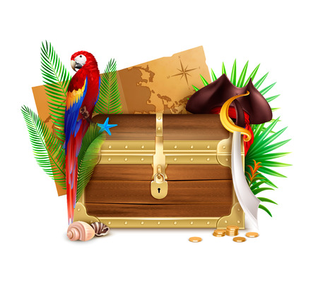Old wooden pirate chest realistic composition with  golden coins palm tree branches parrot and map vector illustration Illustration