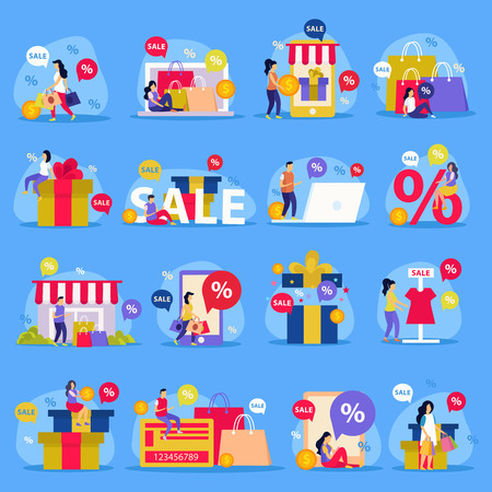 Great sale flat icon set with woman shopping store sale and abstract descriptions vector illustration Illustration