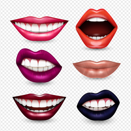 Mouth expressions lips body language  realistic set with bright drawing attention lipstick colors transparent background vector illustration
