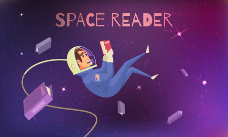 Space reading background with cosmonaut in spacesuit flat vector illustration