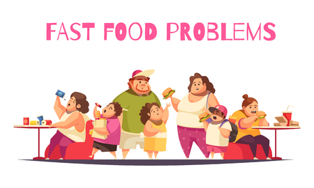 Fast food problems concept with gluttony symbols flat vector illustration