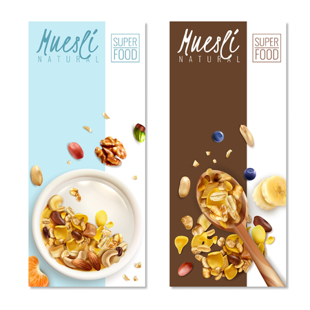 Muesli healthy food 2 realistic vertical banners with milk bowl spoon roasted oats flakes nuts vector illustration