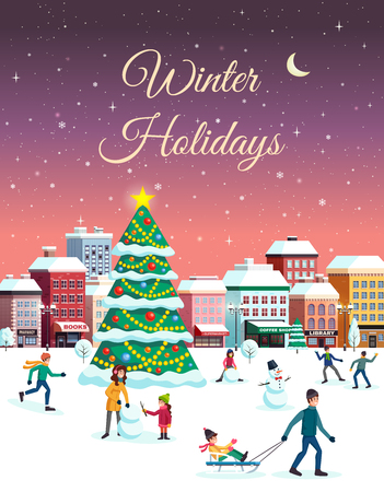 Winter holidays festive invitation poster greeting card with snowy city center landscape christmas tree houses people vector illustration