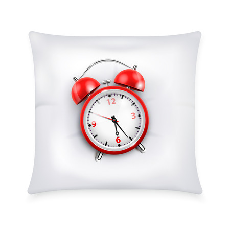 Red alarm clock with two bells in retro style on white pillow  realistic design concept vector illustration Ilustração