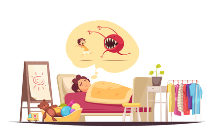 Childhood fears composition with bad dreams and monsters symbols vector illustration Imagens - 126871218