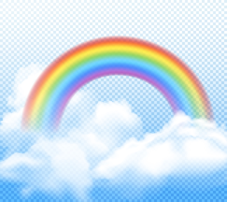 Realistic bright rainbow with white fluffy clouds composition on transparent background vector illustration Ilustrace