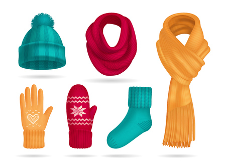 Winter knitted accessories realistic set with hat and socks isolated vector illustration