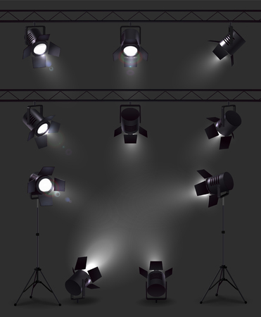 Spotlights set of realistic images with glowing spot lights from different angles with stands and reels vector illustration